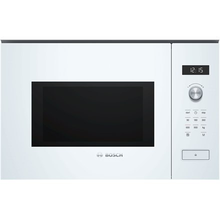 Bosch Microwave Oven BFL554MW0	 31.5 L, Retractable, Rotary knob, Start button, Touch Control, 900 W, White, Built-in, Defrost f