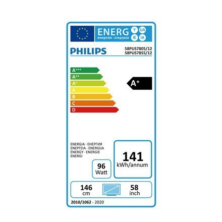 "Philips 58PUS7855/12 58"" (146 cm), Smart TV, Saphi, 4K UHD LED, 3840 x 2160 pixels, Wi-Fi, DVB-T/T2/T2-HD/C/S/S2, Light-silver"